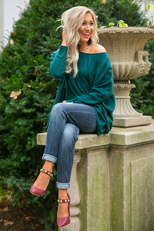 Fireside Swooning Tunic Sweater in Hunter Green