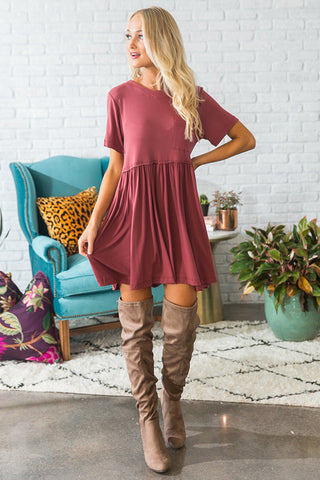 Style Session Babydoll Dress In Aurora Red