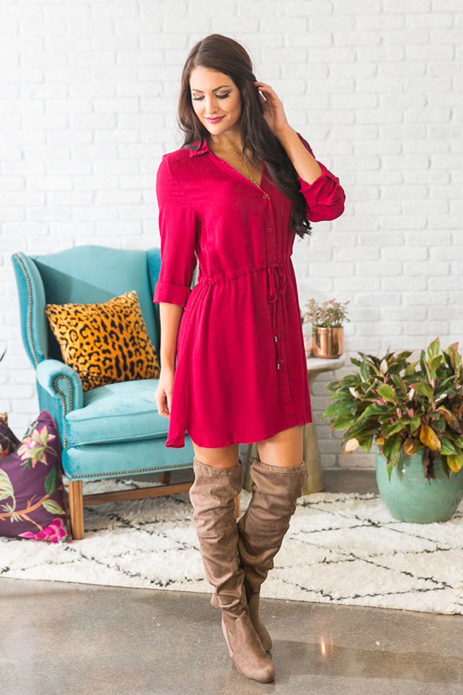 Stadium Stunner Shirt Dress in Red