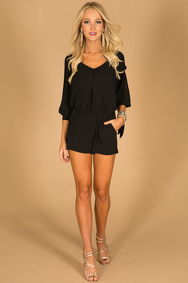 Never Let You Go Romper in Black