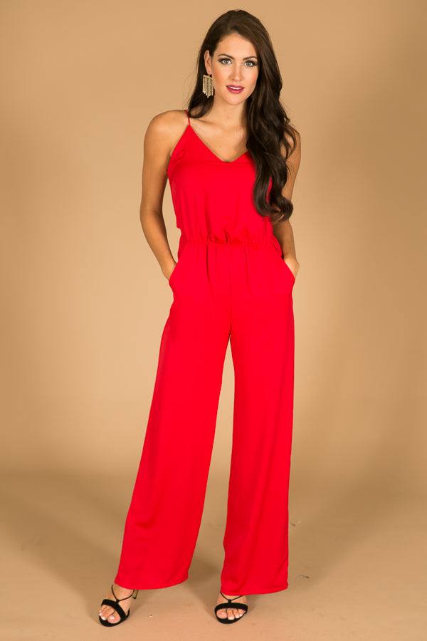 Back By Midnight Jumpsuit in Red