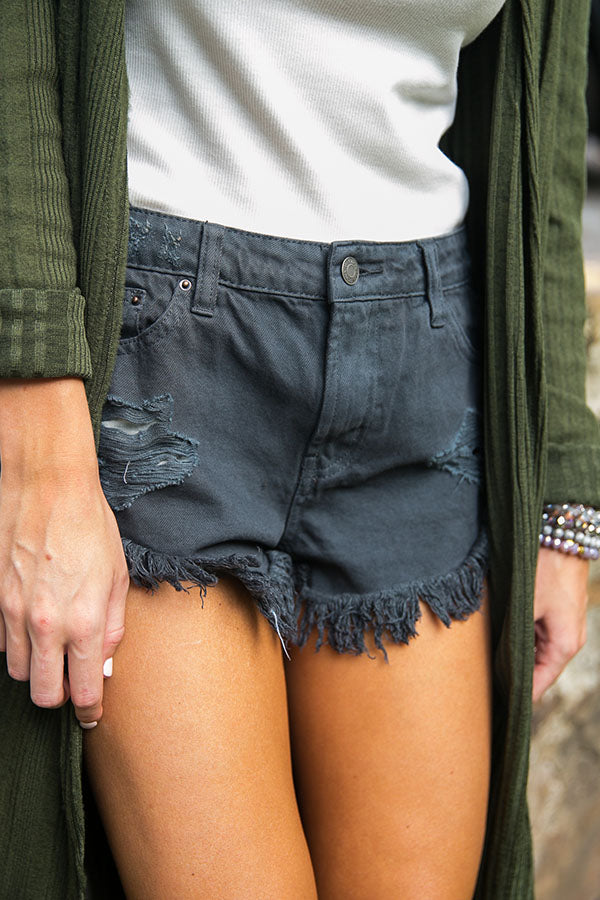 Latte Run Cut Off Shorts in Charcoal