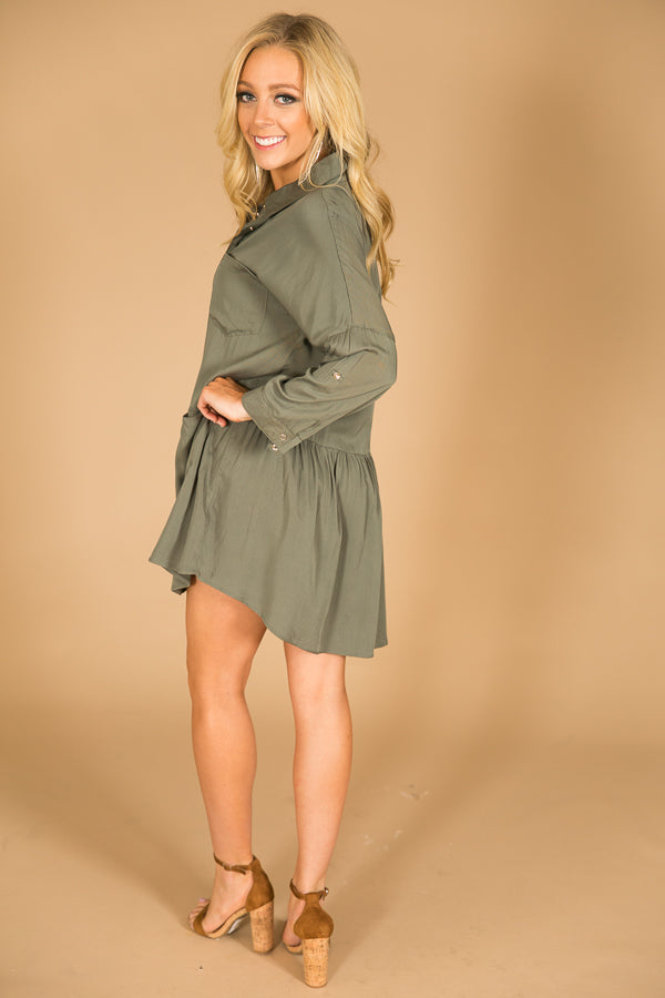 Autumn Escape Shift Dress In Sage