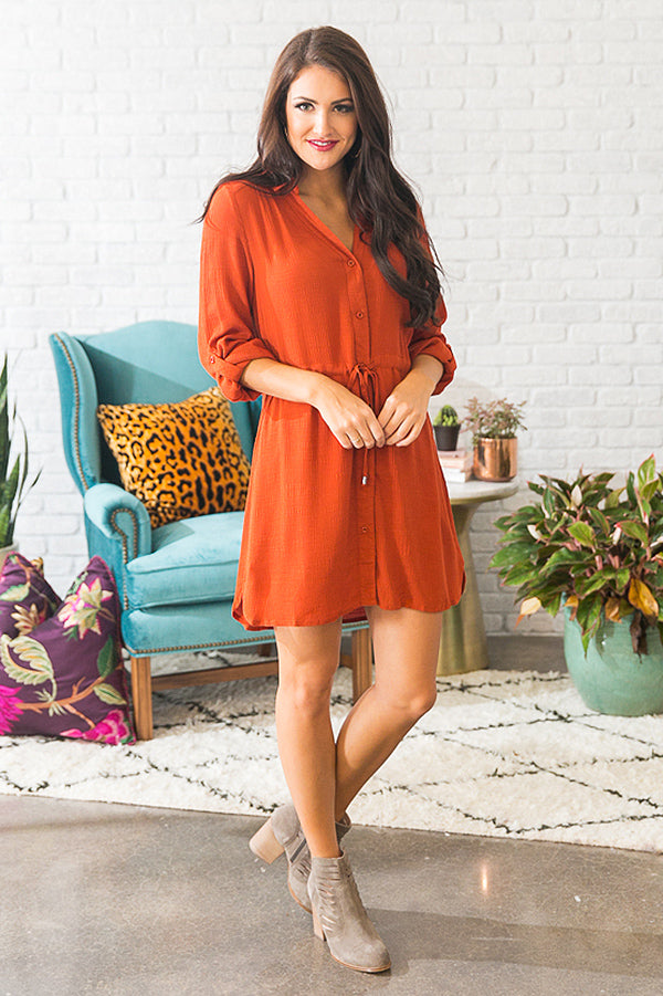 Stadium Stunner Shirt Dress in Rust