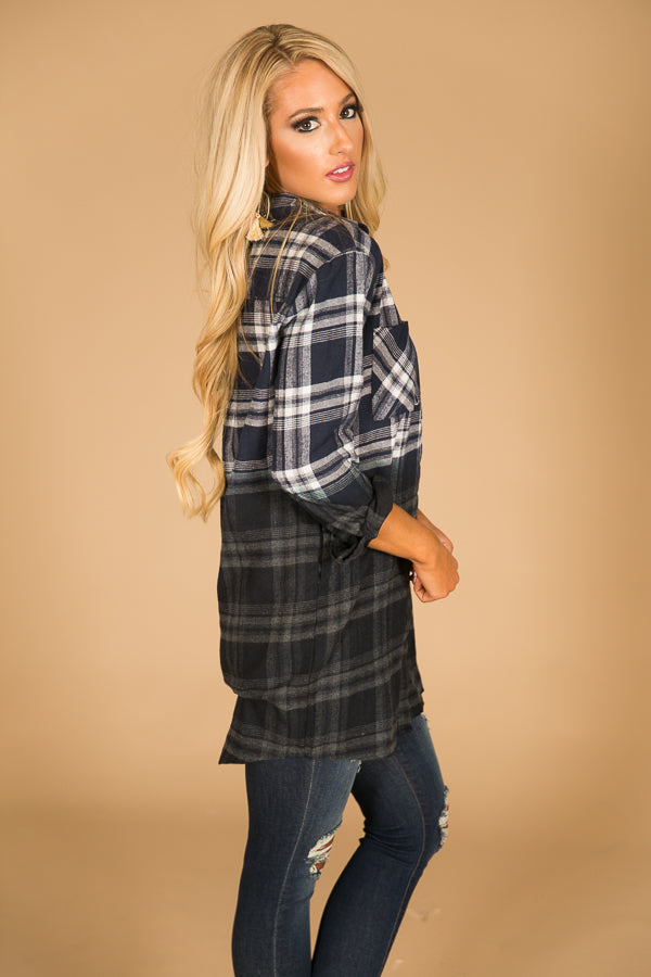 My Favorite Ombre Flannel in Navy