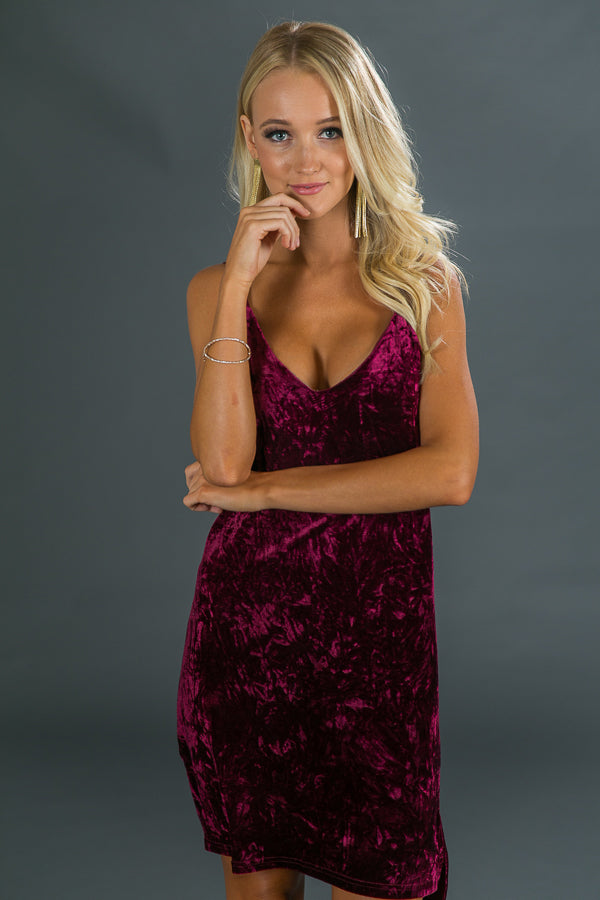 Pinot Party Velvet Dress in Merlot