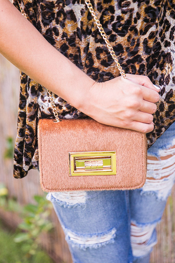 Date Night In Paris Faux Fur Crossbody in Camel