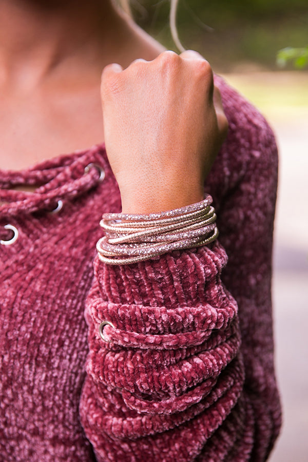 Completely Charmed Wrap Bracelet In Rose Quartz