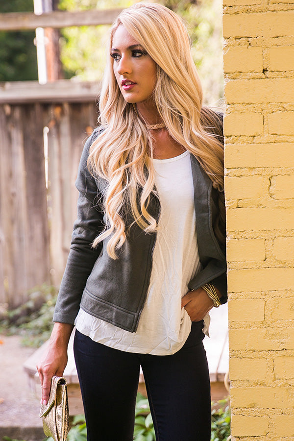 Downtown Date Night Jacket in Army Green