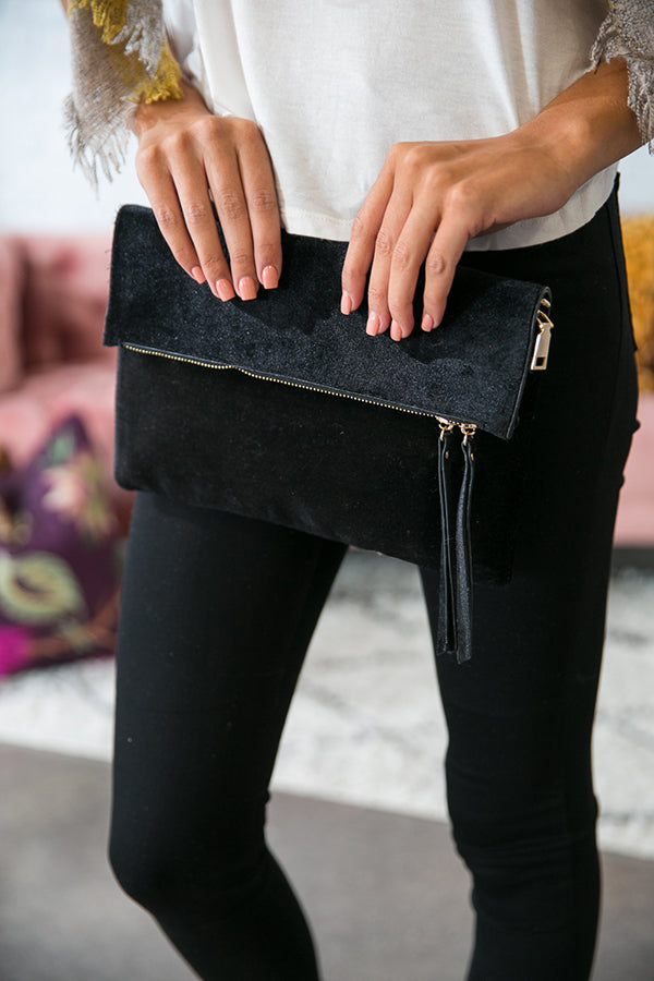 Feeling French Velvet Foldover Clutch in Black