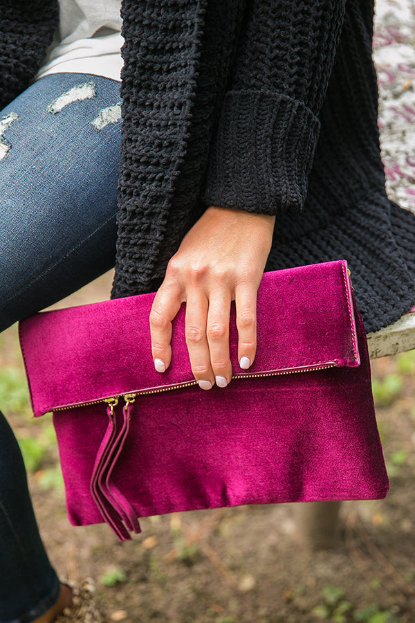 Feeling French Velvet Foldover Clutch in Windsor Wine