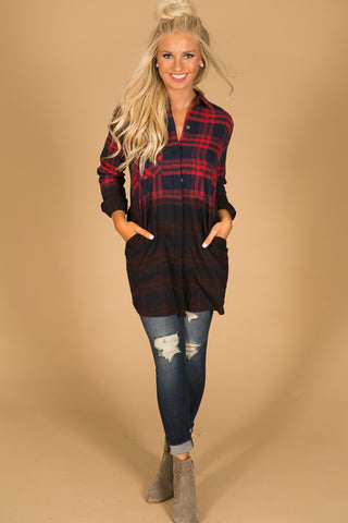 My Favorite Ombre Flannel in Red