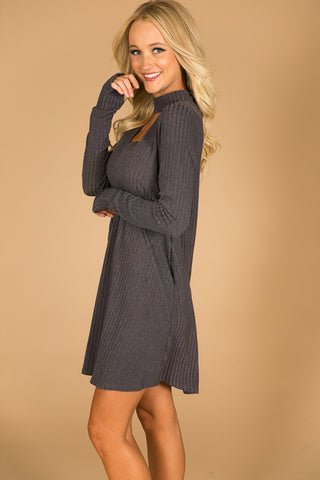 Paris Fashion Week Shift Dress in Charcoal