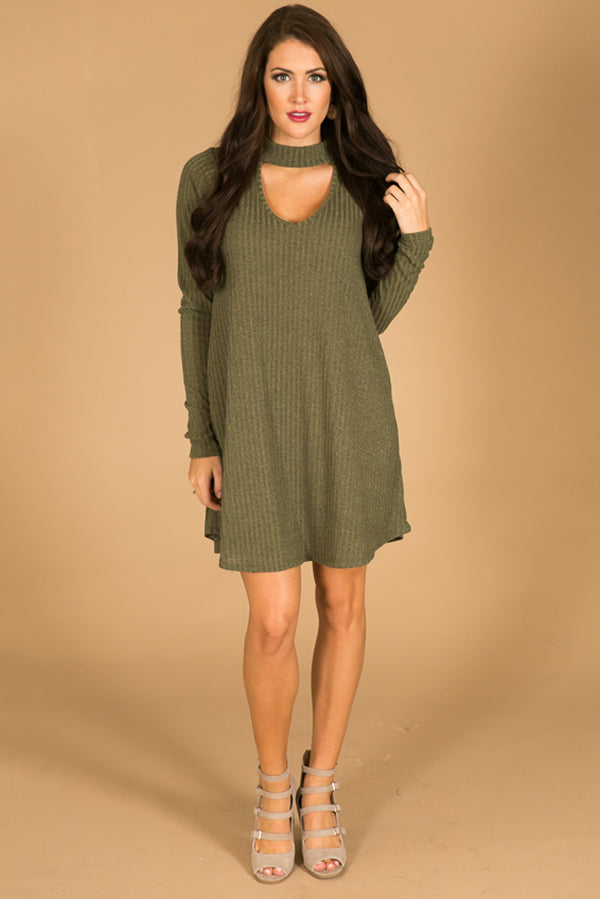 Paris Fashion Week Shift Dress in Olive