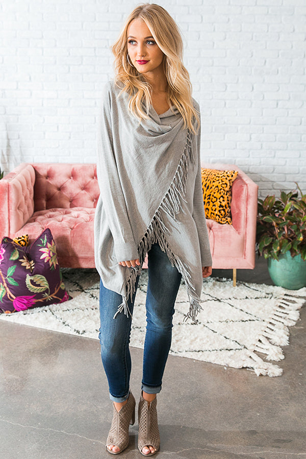 Aspen Arrival Fringe Cardigan In Grey