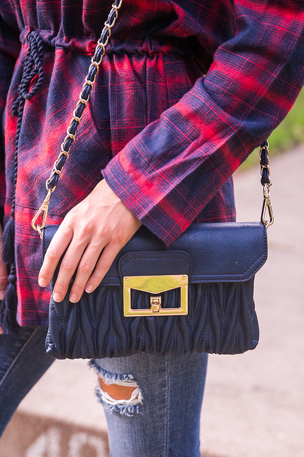 Kiss On The Chic Quilted Clutch in Navy