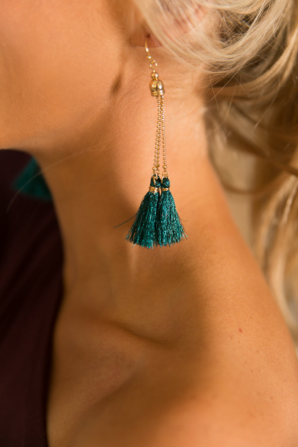 Hottest Goddess Tassel Earrings in Teal