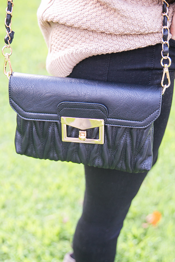 Kiss On The Chic Quilted Clutch in Black