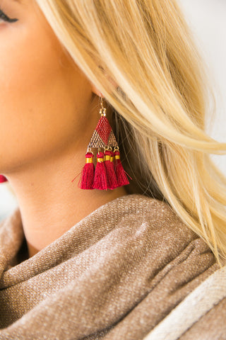 Va Va Voom Tassel Earrings In Wine