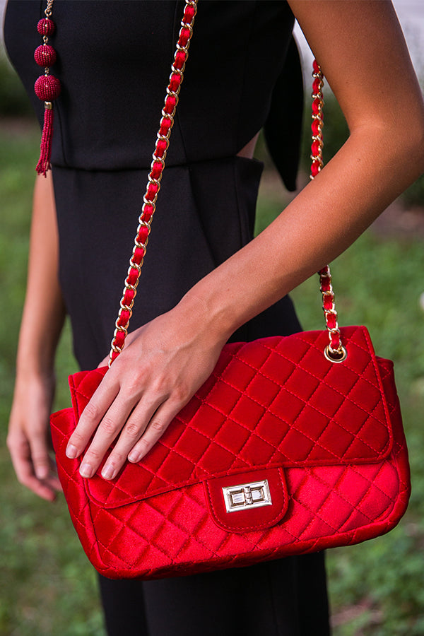 Soho Socialite Velvet Quilted Purse in Red