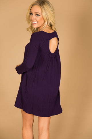 Dallas Date Night Shift Dress in Dark Purple