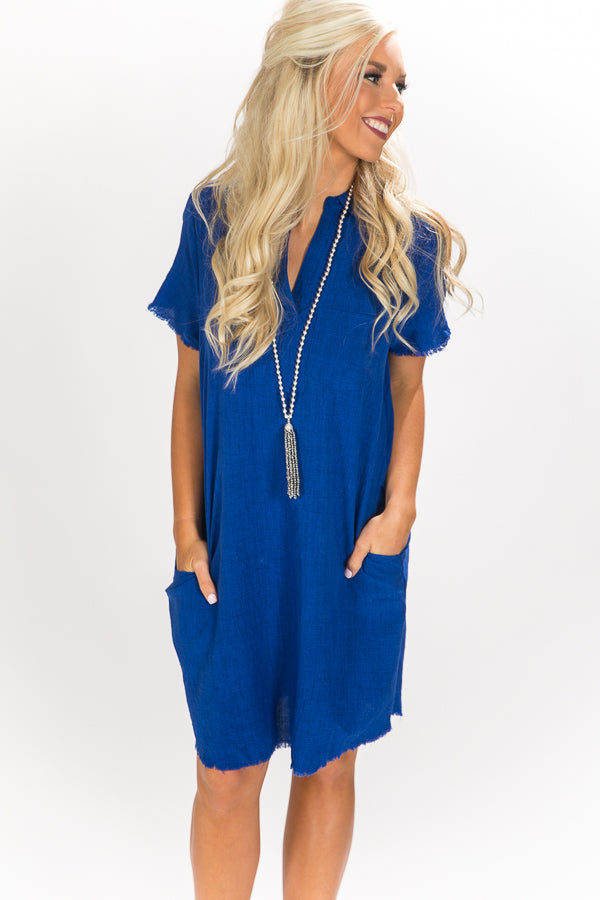 Cocktails in The City Shift Dress in Royal Blue
