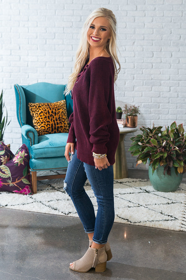 Harvest Latte Lace Up Sweater