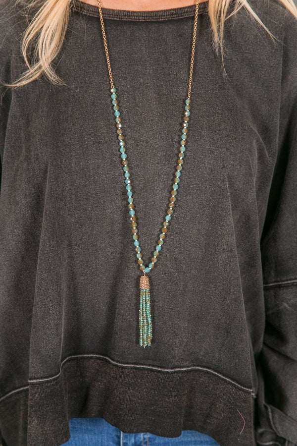 Going The Distance Tassel Necklace In Aqua