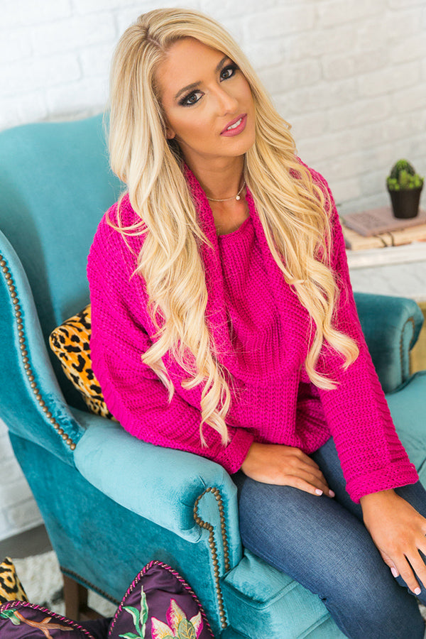 Fireside Snuggles Sweater in Hot Pink