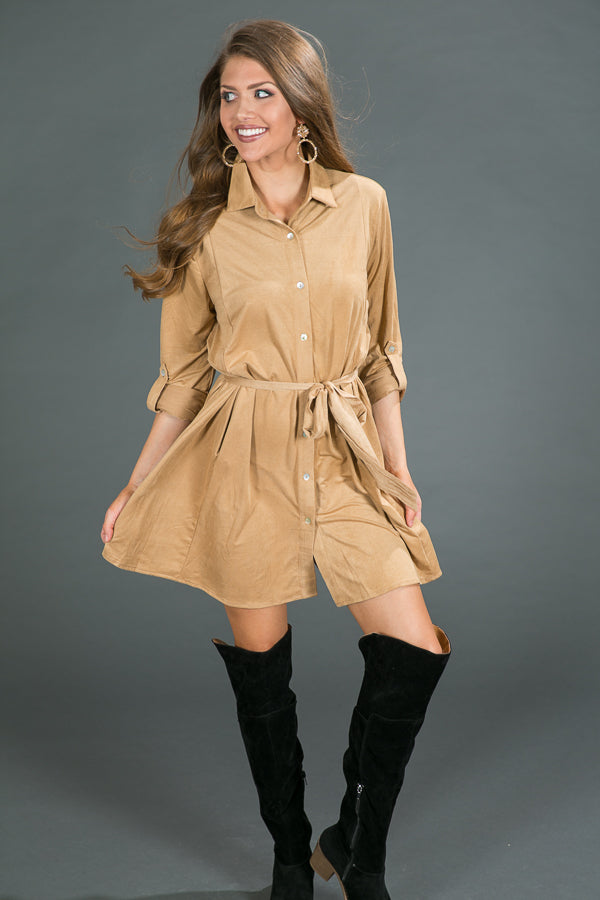 Meet Me in Manhattan Faux Suede Dress in Khaki