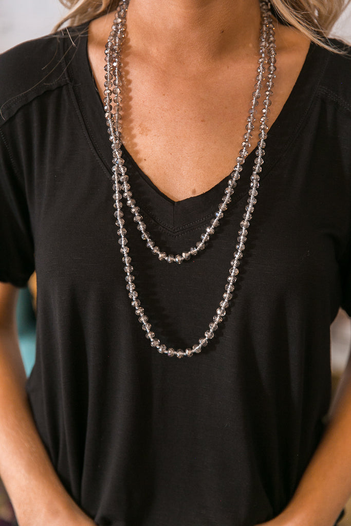Knotted Crystal Necklace in Grey