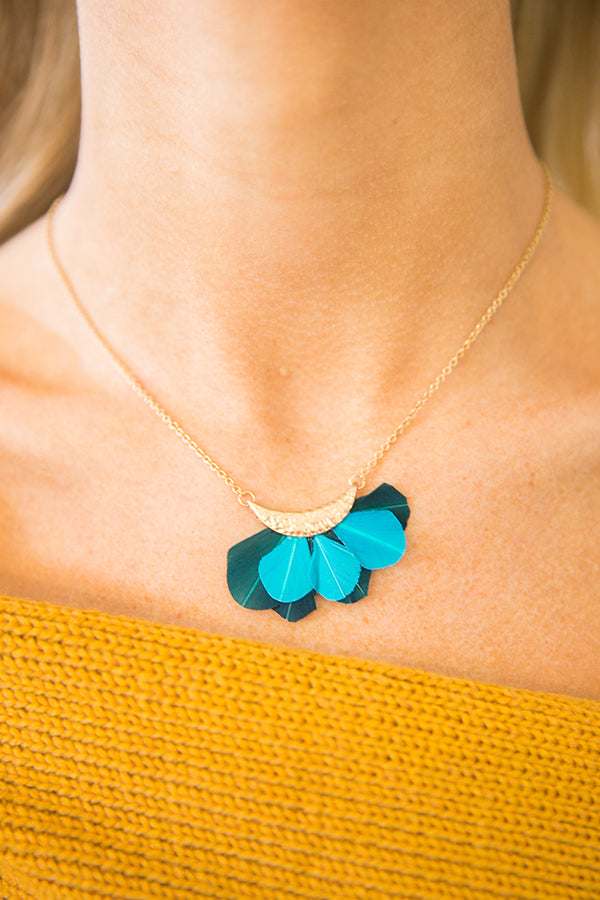 Light As A Feather Necklace in Teal
