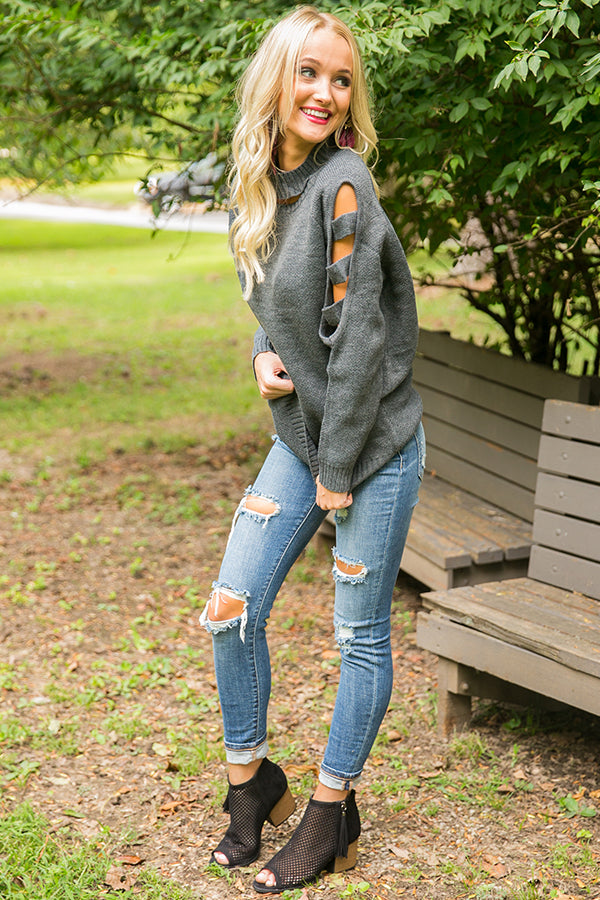 Some Like It Cozy Cut Out Sweater in Dark Grey