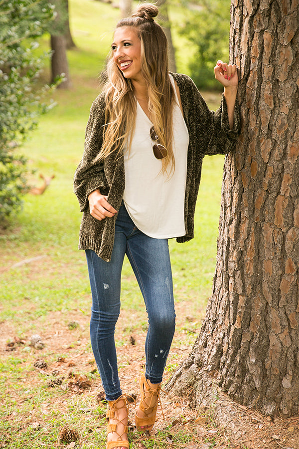 The Bombshell Chenille Cardigan in Olive