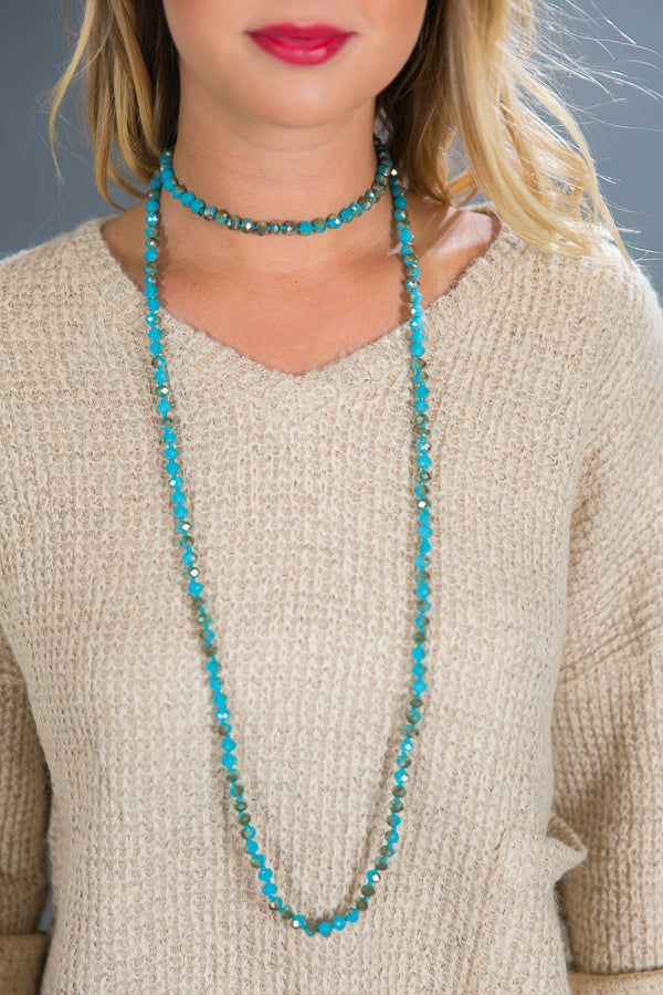Knotted Crystal Necklace in Turquoise