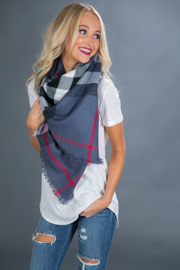 Warm Me Up Blanket Scarf In Slate