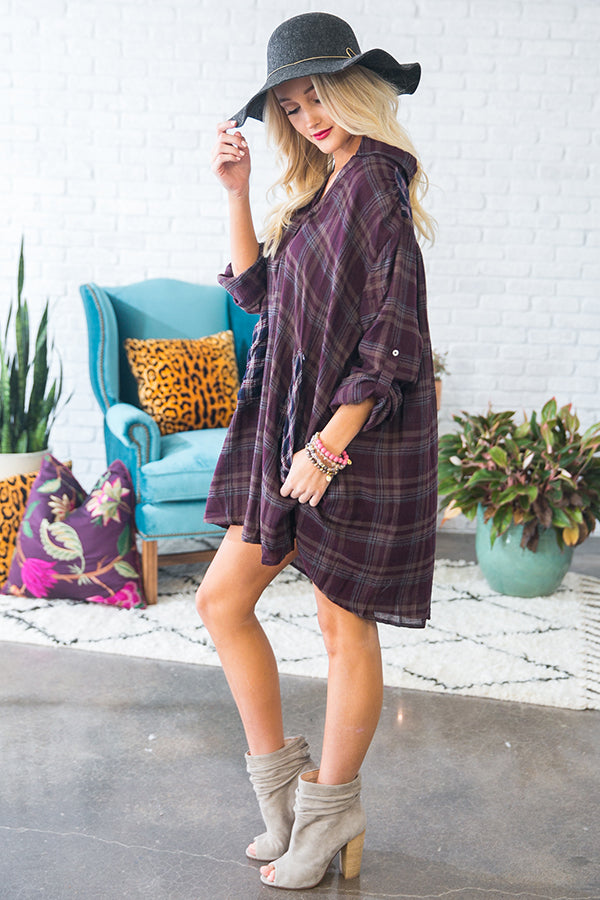 Fireside Babe Plaid Shift Dress