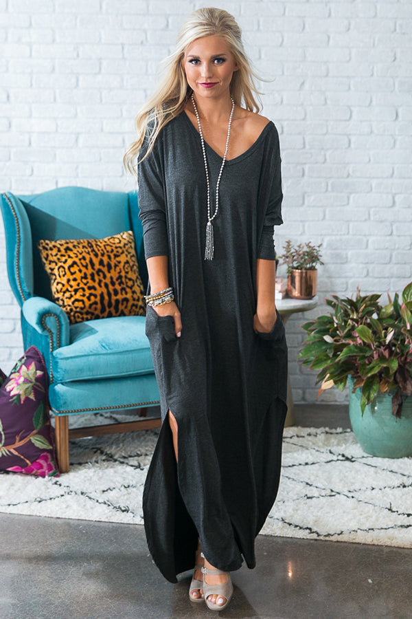 Beachy Keen Long Sleeve T-Shirt Dress in Charcoal • Impressions Online  Boutique b1ad19d02544