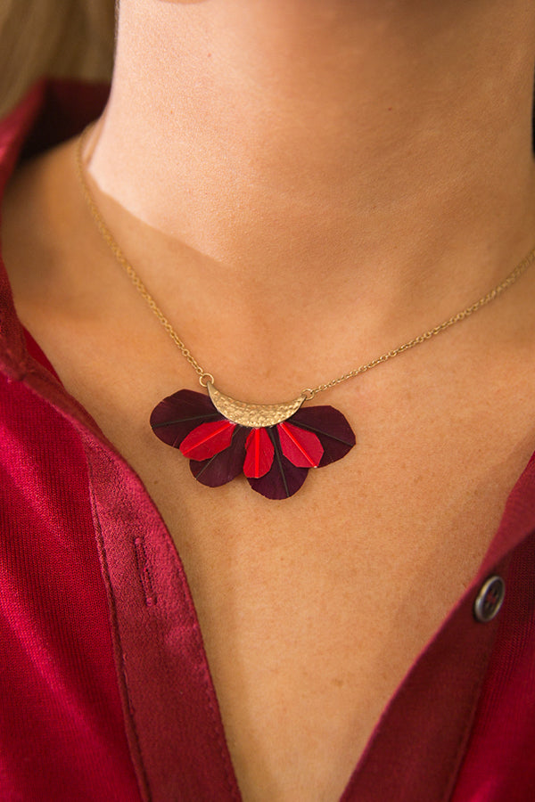 Light As A Feather Necklace in Merlot