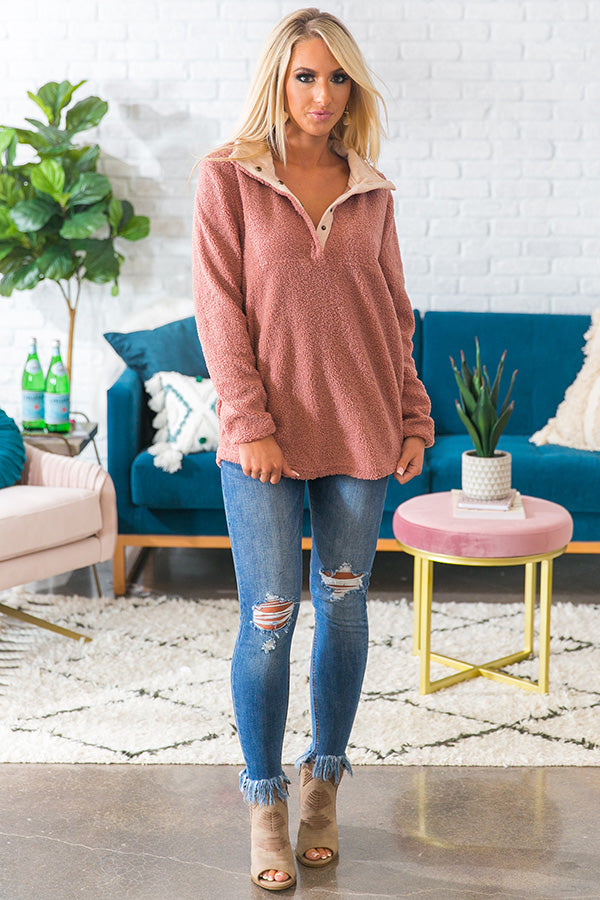 Aspen Cuddles Pullover in Blush