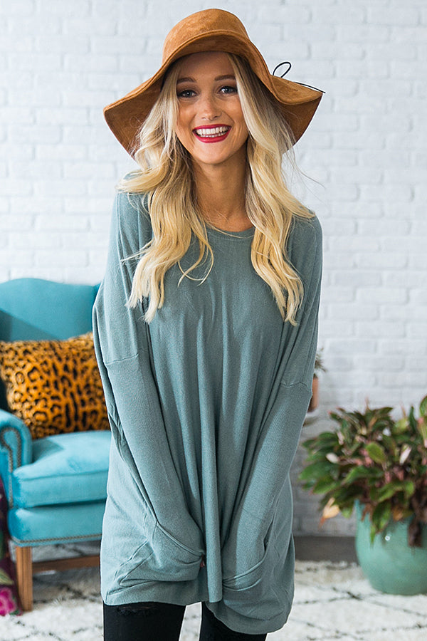 Apple Picking Pretty Tunic Sweater in Light Teal