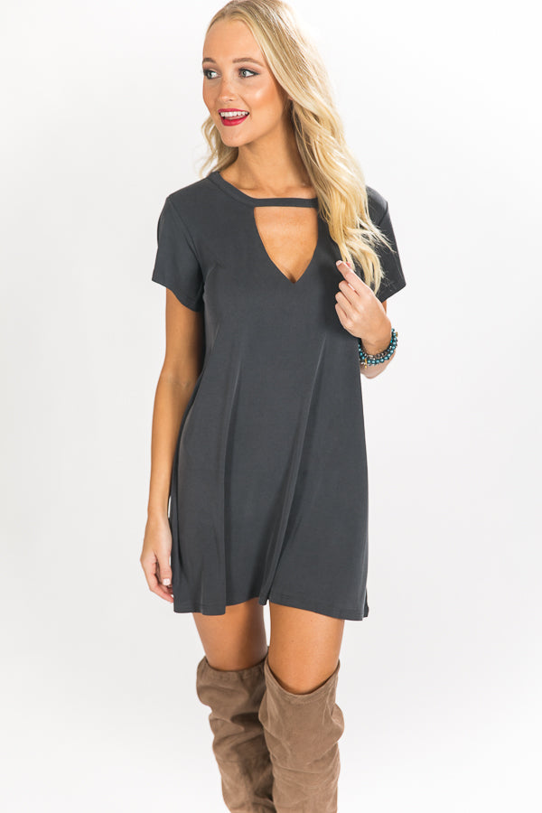 Hottest At Happy Hour Shift Dress in Slate