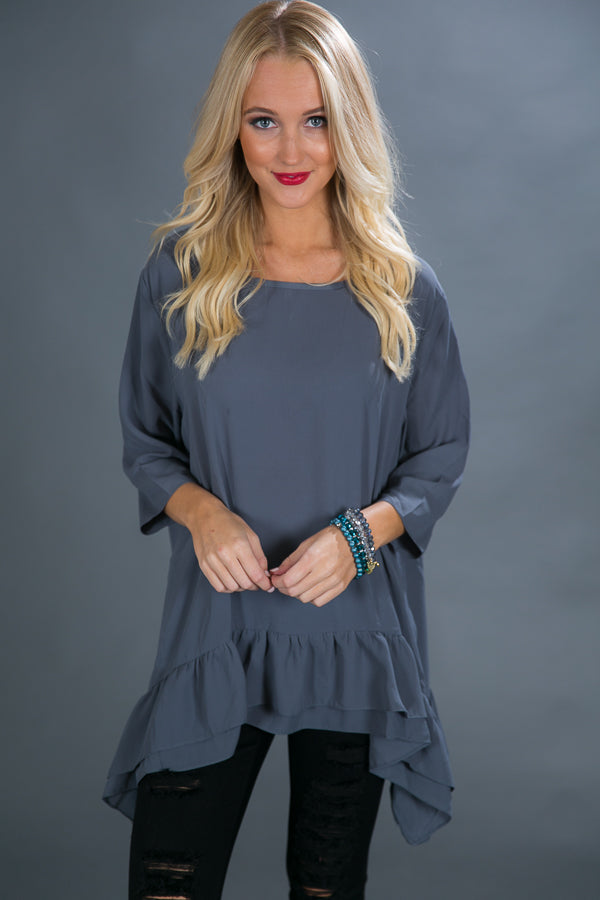 Ruffle My Way Shift Tunic in Slate