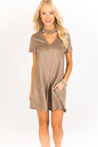 Soho Sighting  Faux Suede Shift Dress