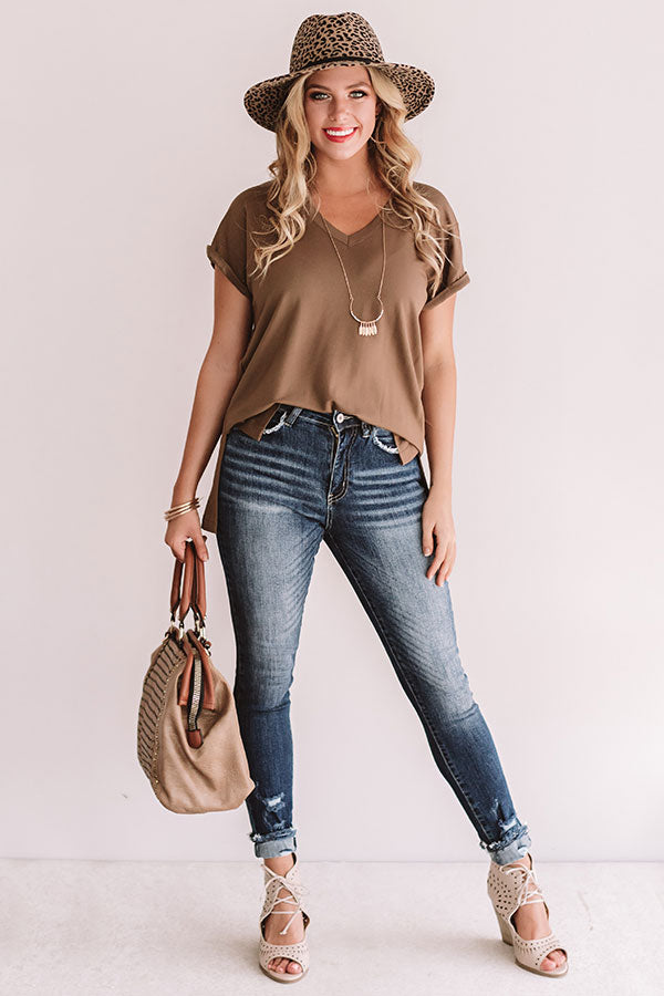 V.I.P Travels Boyfriend Tee in Olive