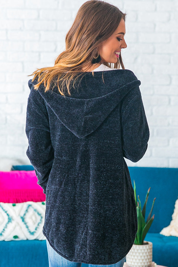 Coffee At Sunrise Tunic Hoodie in Navy