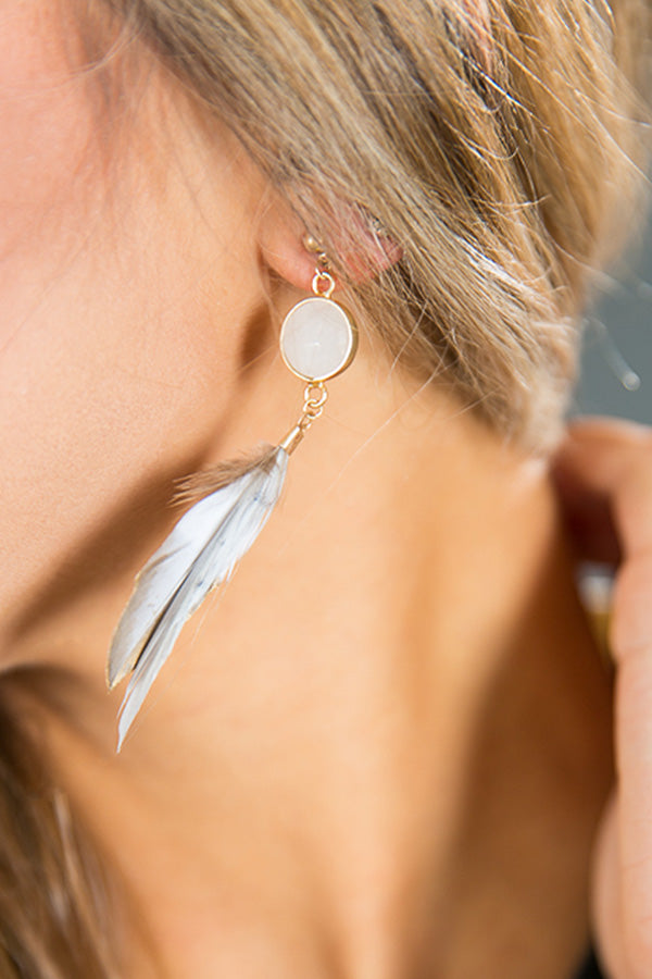 Power Of Love Feather Earring in White