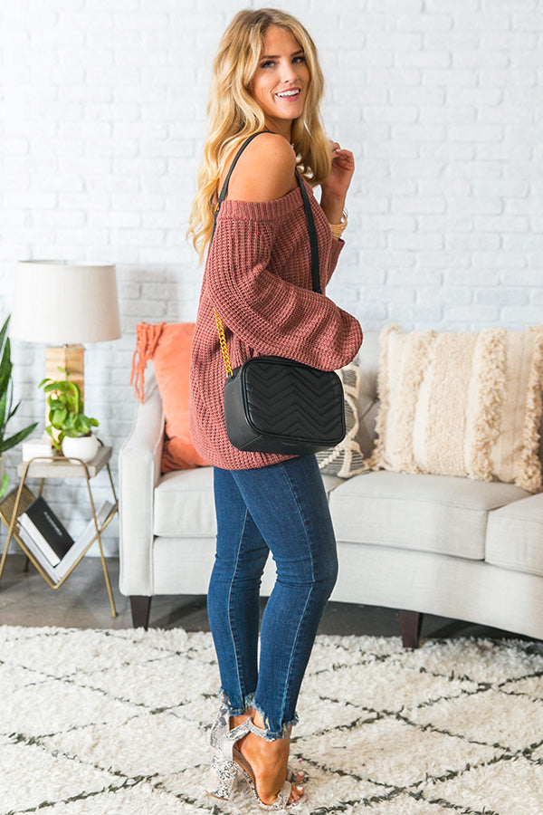 Give Me Cozy Off Shoulder Sweater in Rustic Rose