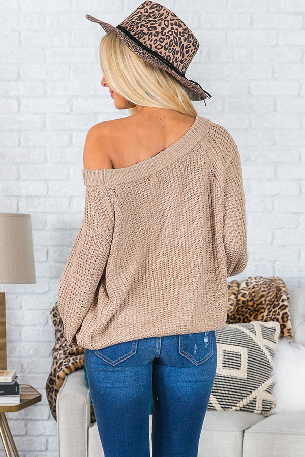 Give Me Cozy Off Shoulder Sweater in Iced latte