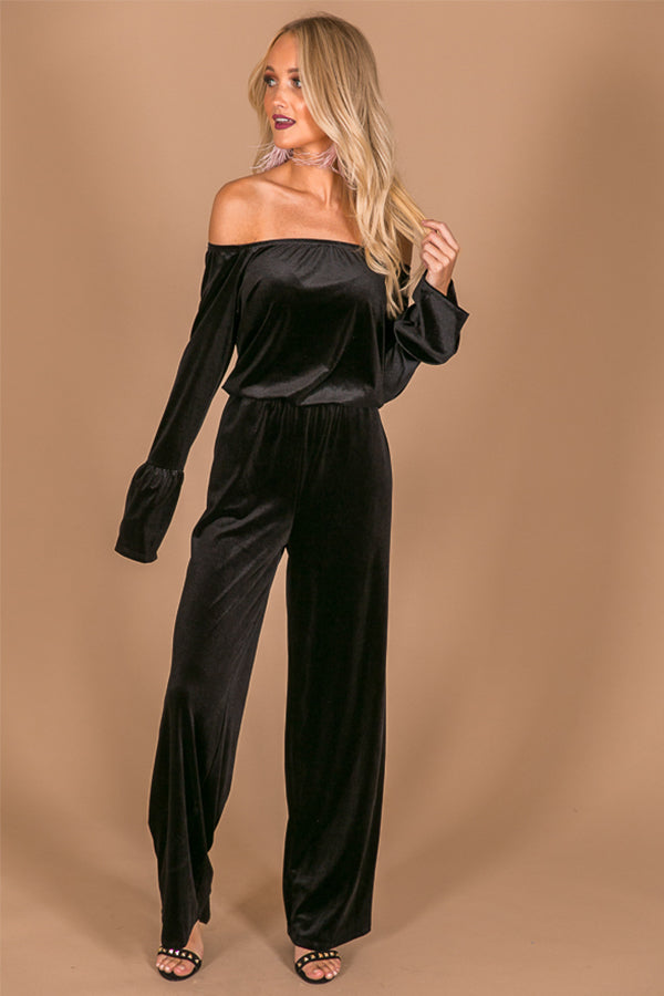 Total Allure Off Shoulder Velvet Jumpsuit in Black